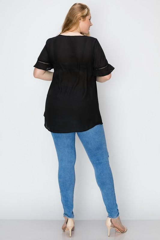 Bagel Plus Size Flowy Top Black Back