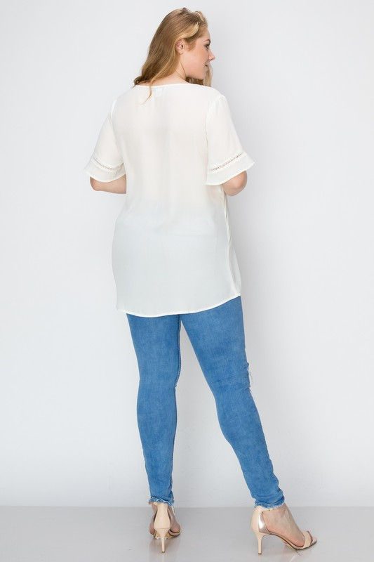 Bagel Plus Size Flowy Top Off White Back