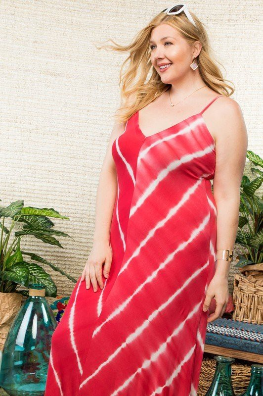 Main Strip Plus Size Maxi Dress Coral