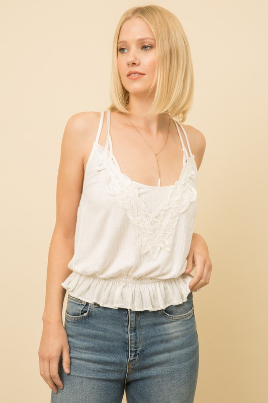 Mystree Crochet Tank Off White front view