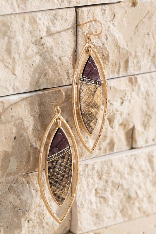 Urbanista Faux Leather Snake Earrings Burgundy