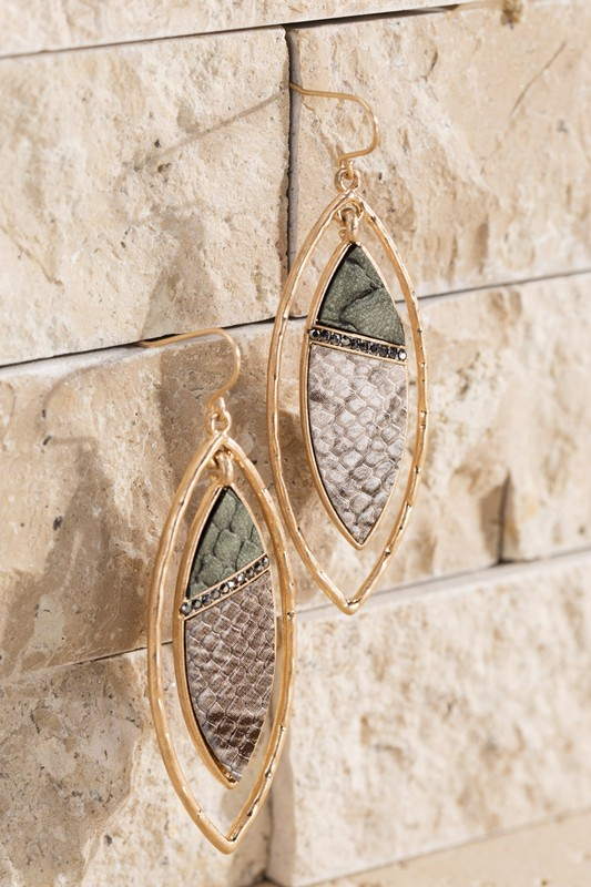 Urbanista Faux Leather Snake Earrings Olive