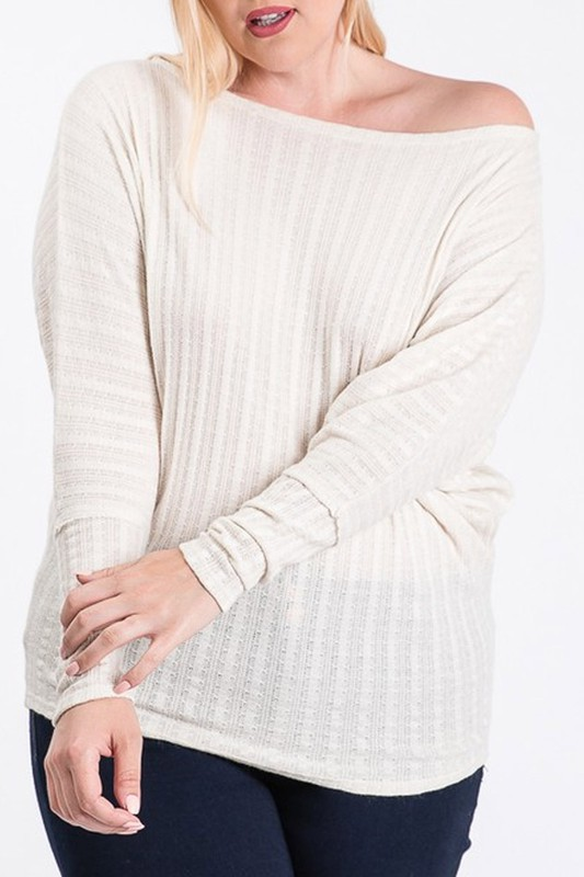 Plus Size House Off the Shoulder Cream Sweater Top
