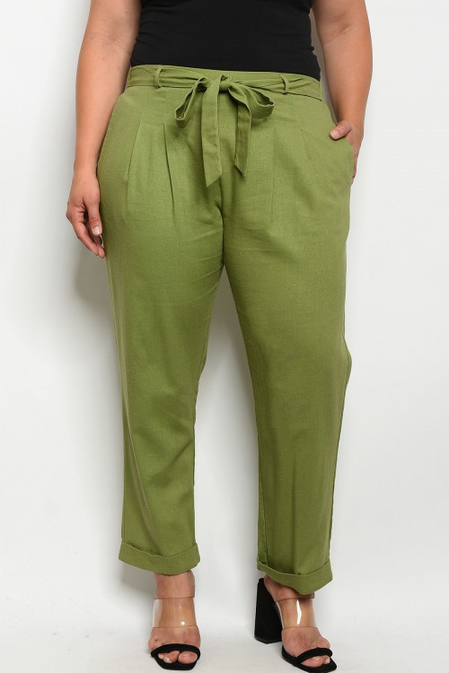 The Relaxed Fit Plus Size Light Green Front Tie Pant