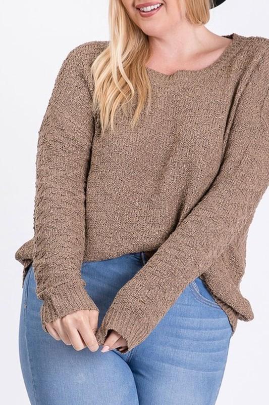 Plus Size Mocha Ribbed Hem Boat Neck Sweater