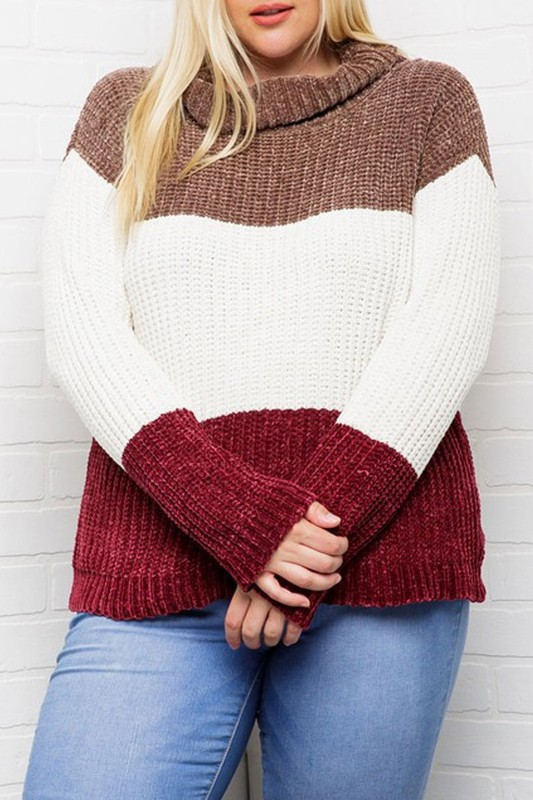 Plus Size Mocha and Cranberry Sweater