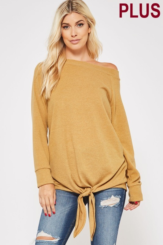 Plus Size Mustard Tied Tunic Peep Shoulder Sweater