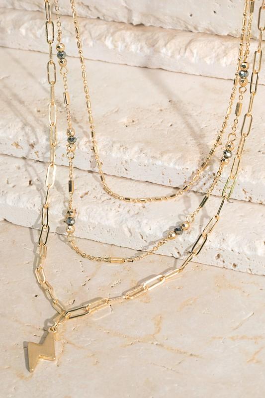 Urbanista Three Layered Lightning Strike Chain Necklace