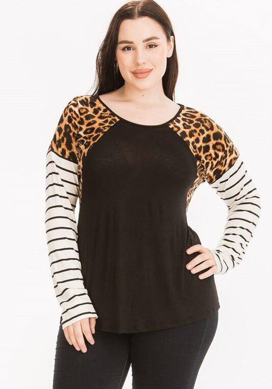 Plus Size Leopard Print Striped Sleeve Top