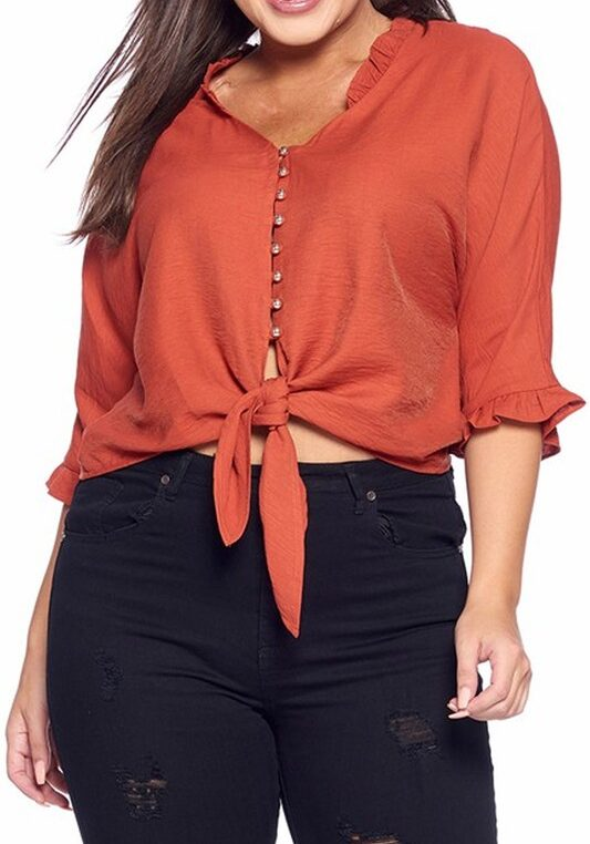 Plus Size Rust Waist Tie Tunic Comfy Top