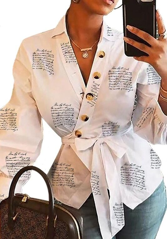 White V Neck Letter Printed Writings On the Wall Top